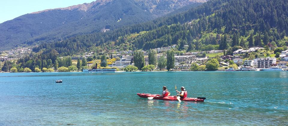 Hire a sea kayak or jump aboard a sea kayaking tour to enjoy the waters of Lake Wakatipu