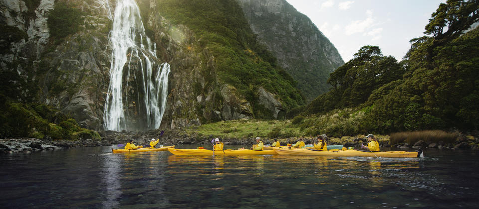 Kayaking in the majestic Milford Sound