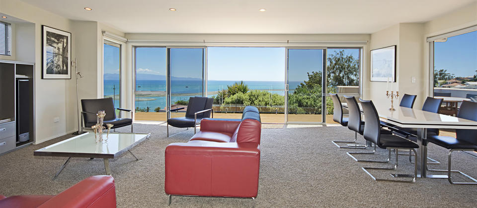 Modern lounge overlooking the bay