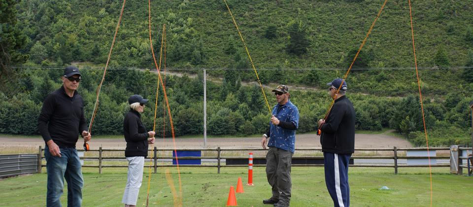 A group of friends learn how to fly cast at a two day NZfly fishing school.