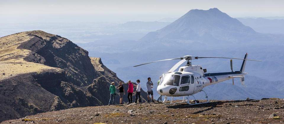 Passengers on top of Mt Tarawera