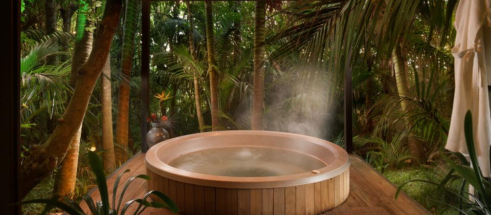 Secluded hot tub in the Nikau forest