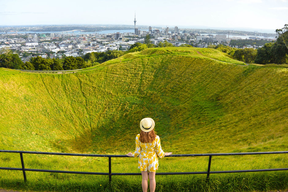 Climb ancient volcanoes less than 10 minutes outside of Auckland city center