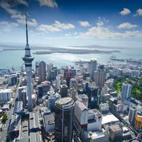 Auckland's famous 328 metre tall Sky Tower, during the Volvo Ocean Race