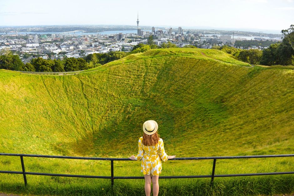The view from Mt Eden's volcanic cone is one of the best in Auckland city.