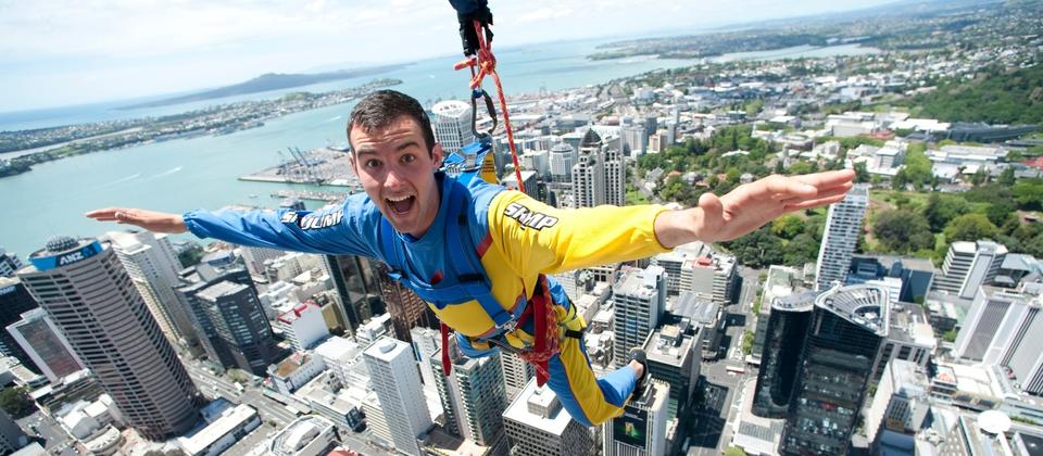 The SkyJump allows you to jump from Auckland's SkyTower - New Zealand's tallest building.