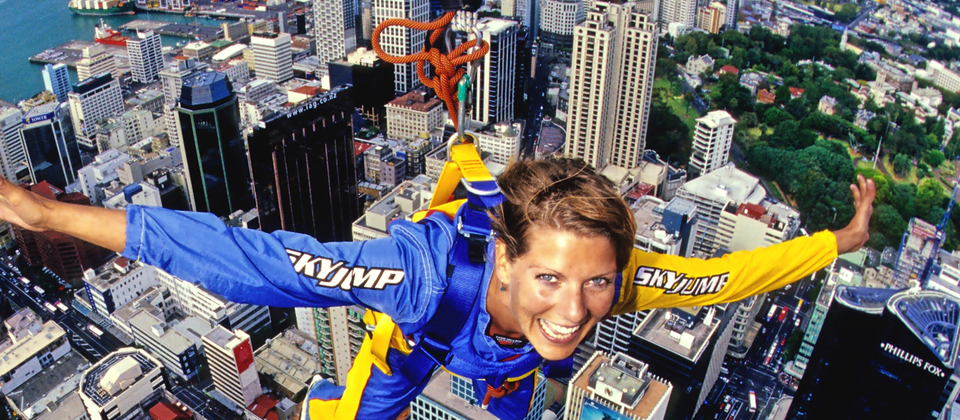 Brave visitors to Auckland's Sky Tower can choose to SkyJump from its heights for amazing views and a serious rush of adrenaline.