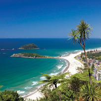 Sandy beaches and blue ocean at Mount Maunganui