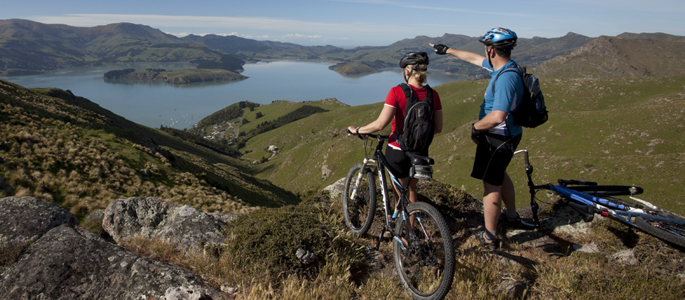 Ciclismo en Port Hills, cerca de Christchurch