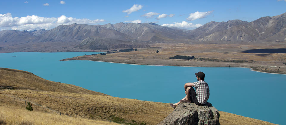 Looking over Lake Tekapo from Mt John