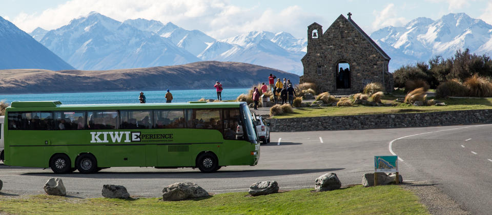 Backpacker bus in Lake Tekapo