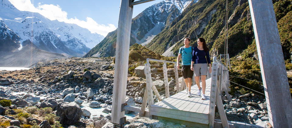 Walk the Hooker Valley Track in 4 hours and experience awesome views.