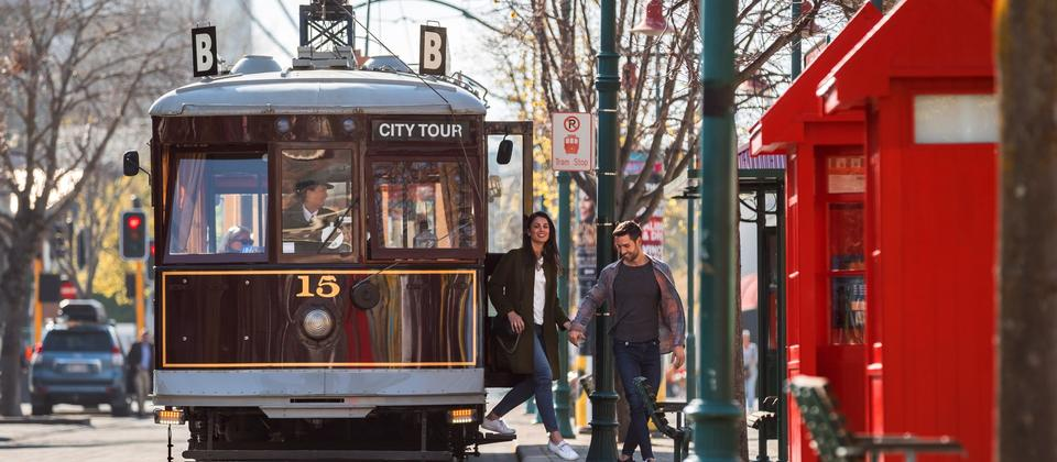 Ride the historic Christchurch tram and take in the central city's sights