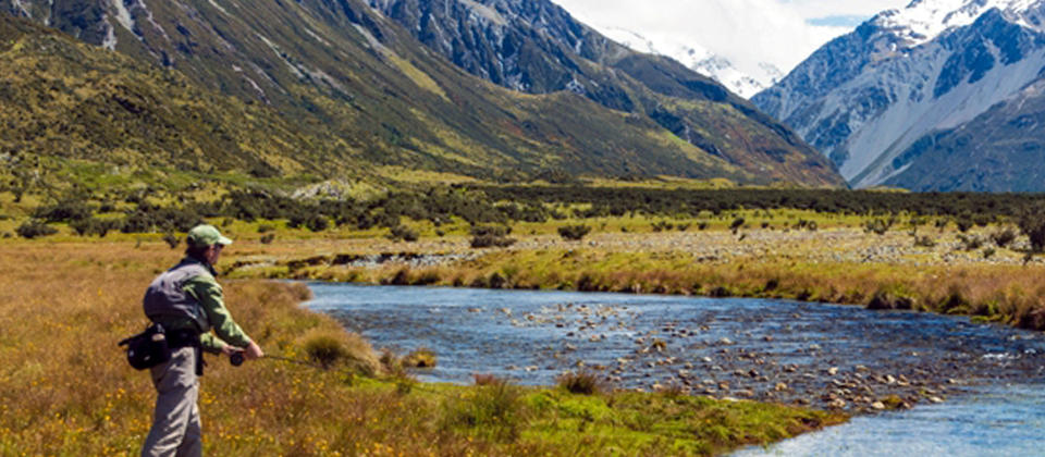 Visit the Glentanner Stream near Mt Cook in the Canterbury region.