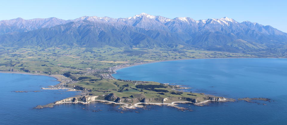 Kaikoura Peninsula with the spectacular Southern Alps in the background.