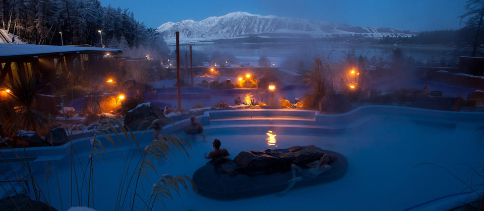 Hot Pools are a star attraction at Tekapo Springs, a popular spa and winterpark on the shores of Lake Tekapo.