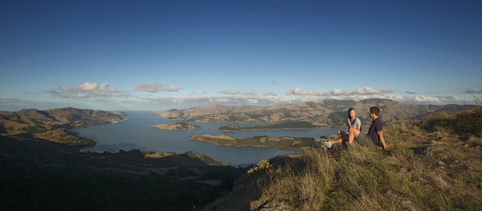 Enjoy the views over Christchurch at the top of the Port Hills.