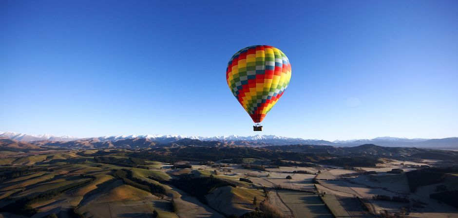 Hot air ballooning over Canterbury
