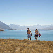 Explore the calm shores and turquoise waters of beautiful Lake Tekapo, three hours drive south-west of Christchurch.