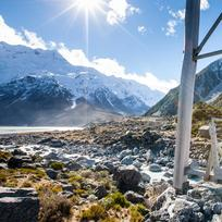 Hiking in Aoraki/Mount Cook National Park.