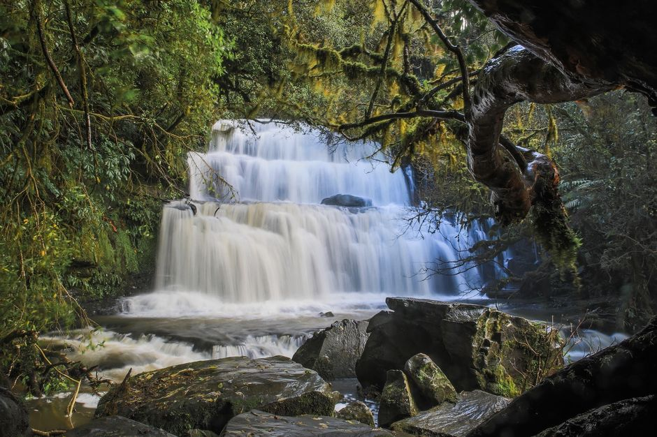 Marvel at the three-tiered waterfall in Clutha