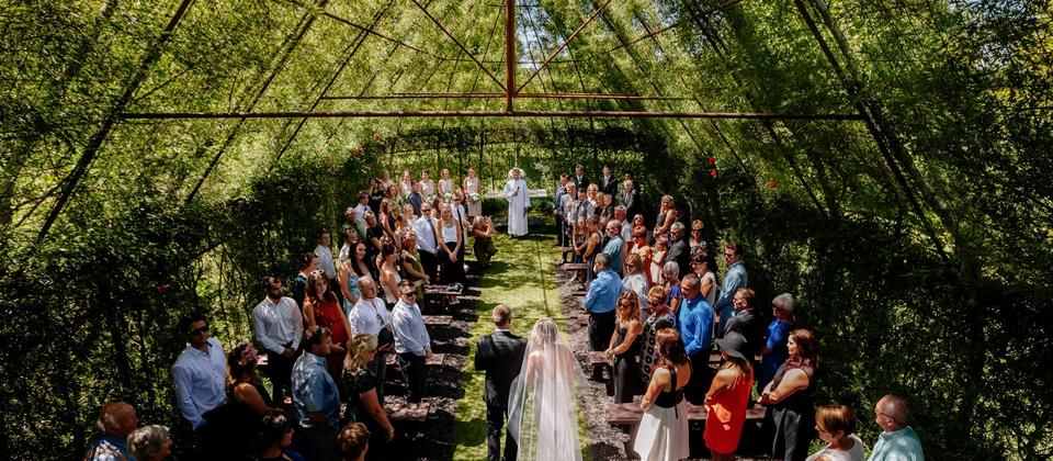Wedding inside a living chapel