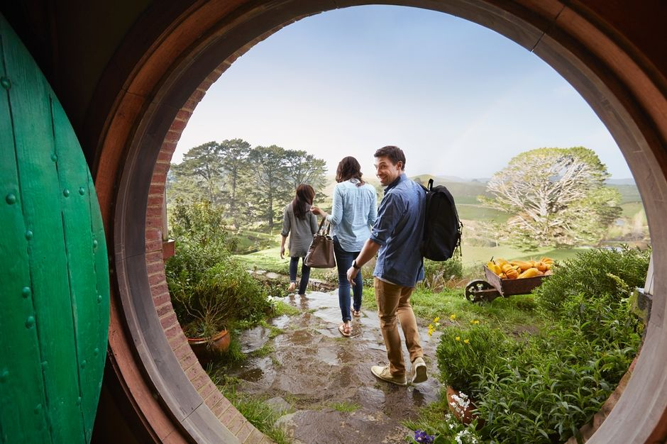 The rolling hills of Matamata invite you to take a guided tour of the idyllic Hobbiton Movie set.