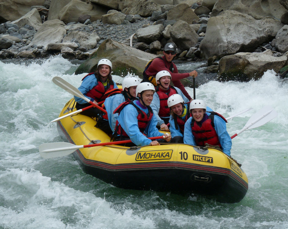 Enjoy the rush of whitewater rafting.