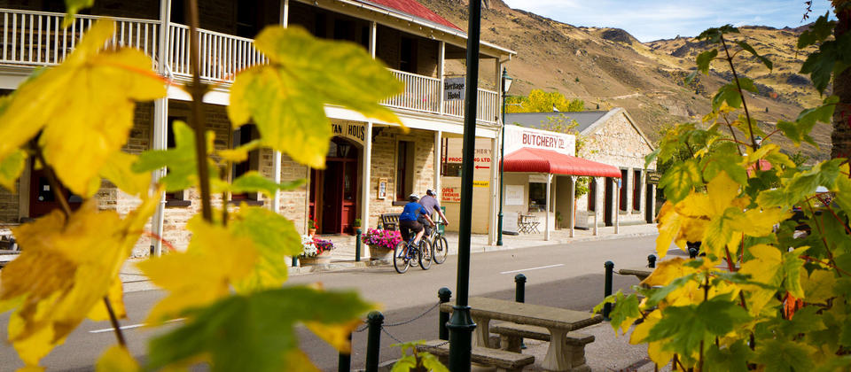 Cycling through Clyde during Autumn, Central Otago