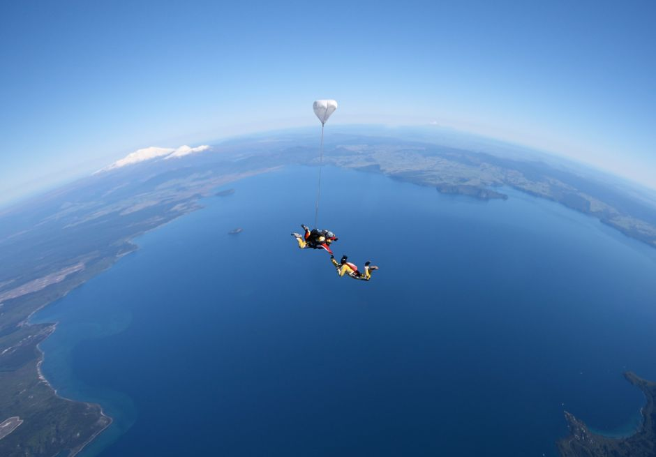 Skydiving over Great Lake Taupō - the North Island's home of adventure