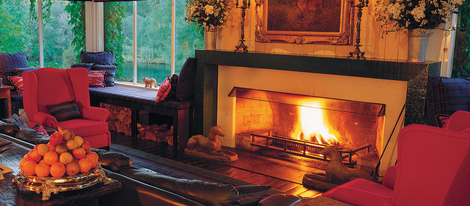 Enjoy evening drinks in front of a roaring fire.