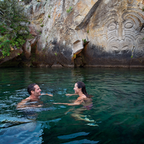 Kayak or take a boat trip to the amazing Maori rock carvings at Mine Bay in Lake Taupo.