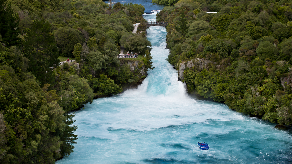 Watch 220,000 litres per second of water thunder over Huka Falls, New Zealand's most visited attraction.