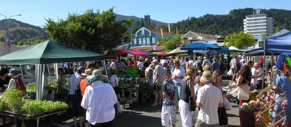 Explore the local produce and crafts at the market.