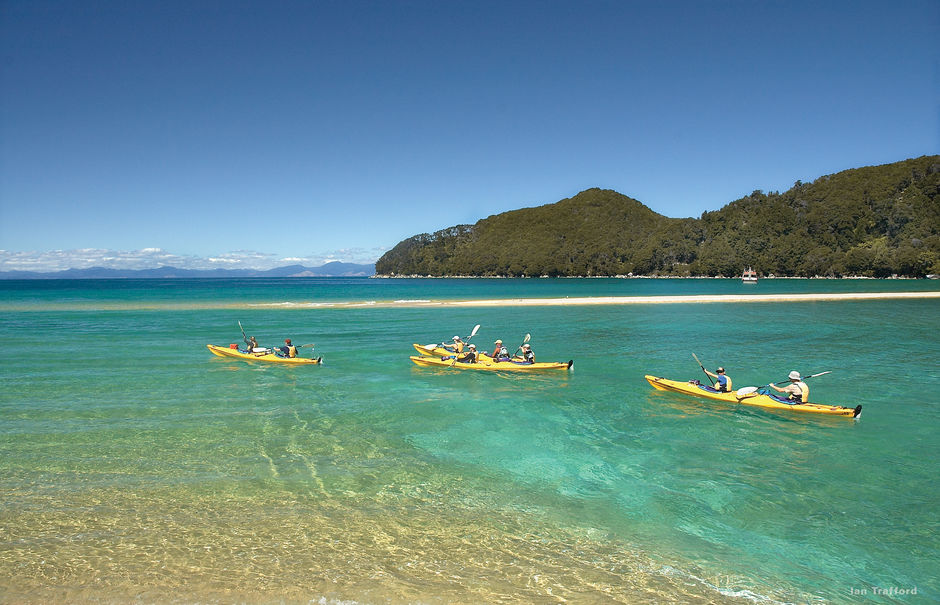 From Marahau in Abel Tasman National Park you can hire a sea kayak or join a guided kayak safari.
