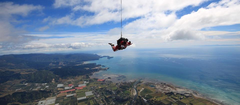 Skydiving above Nelson