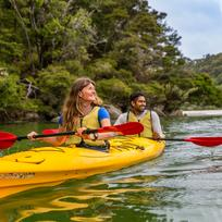 Mix physical exertion with idyllic coastal life in Abel Tasman National Park.