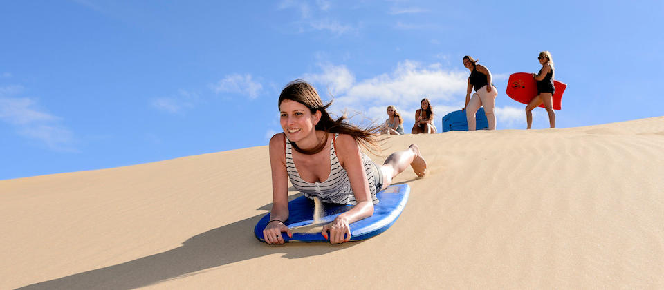 Sandboarding at Te Paki Stream