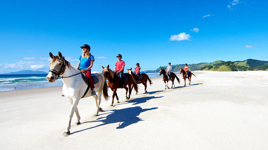 Horse riding at Pakiri Beach, north of Auckland