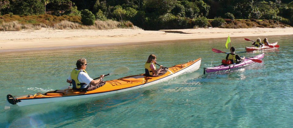 Coastal kayaking in pristine waters of Bay of Islands