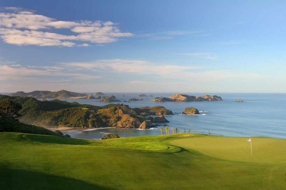 The 16th Hole on the Kauri Cliffs course looks out to the Cavalli Islands