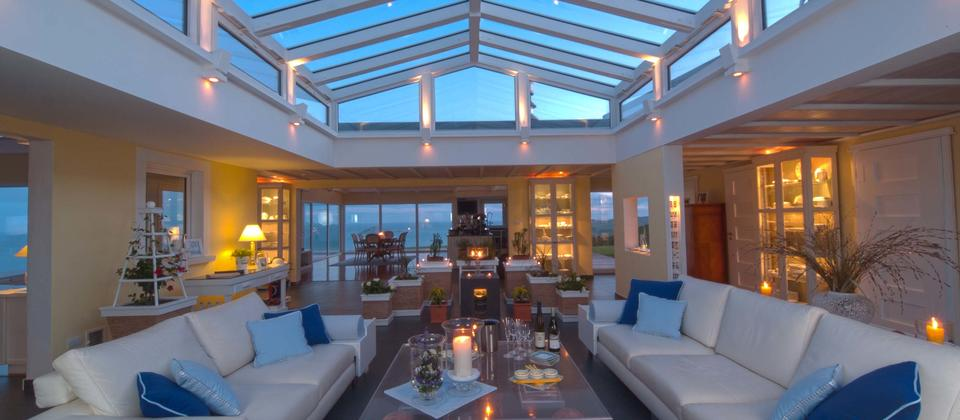 Bay Guesthouse Atrium to relax at night.JPG