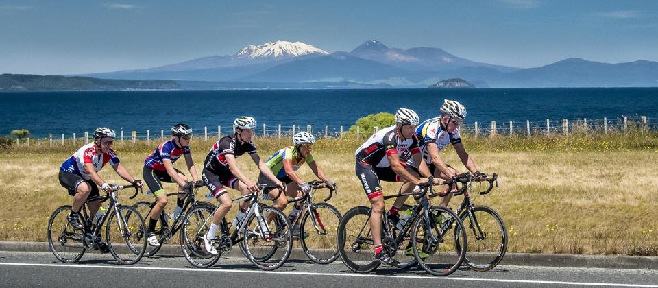 Stunning backdrop of Lake Taupo and Mt Ruapehu from part of the Lake Taupo Cycle Challenge course