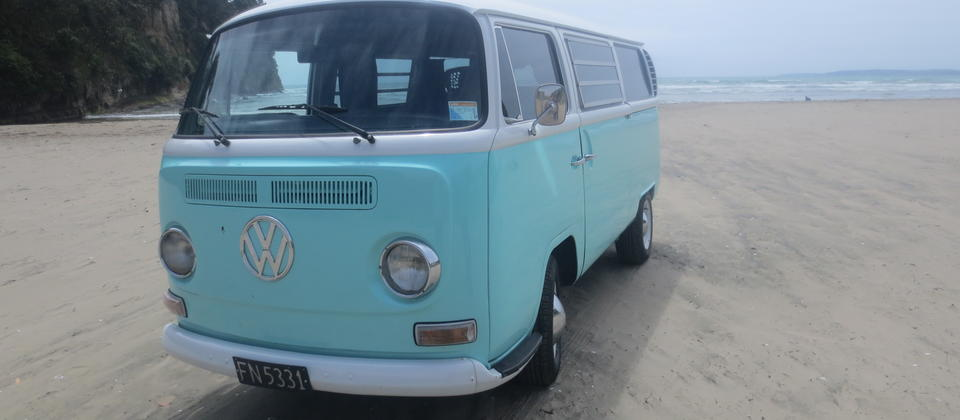 VW 69 Westaflia Tintop Kombi at Orewa Beach NZ