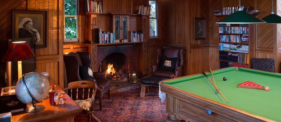 The billiard room is perfect for rainy days