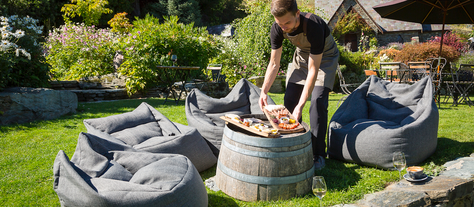 Relax in our bean bag chairs to enjoy your boutique wine tasting and delicious platters