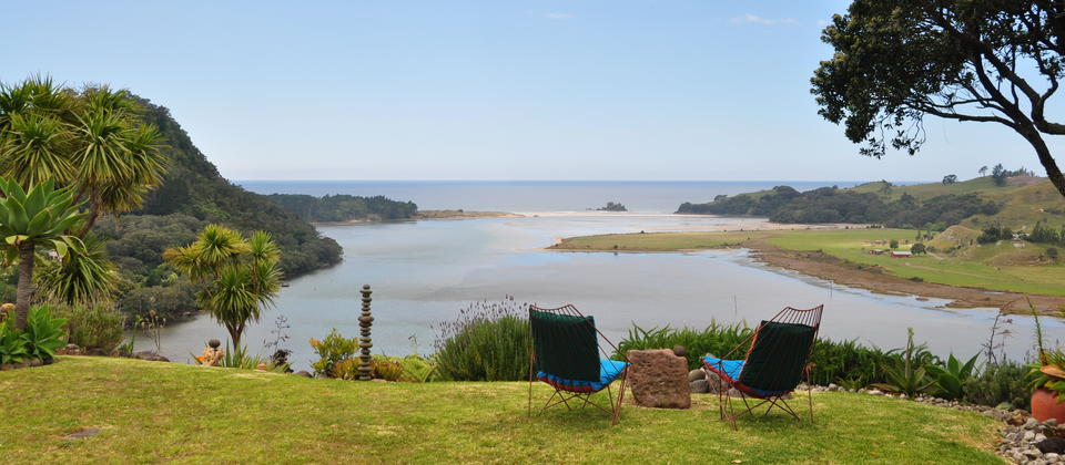 View from Topadahil Art Studios, OPOUTERE BEACH, NZ