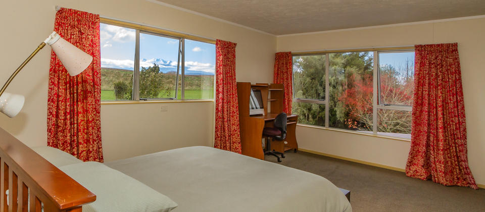 Master bedroom - views of Mt Ruapehu out of the window