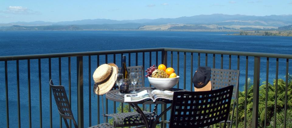 Put yourself here! Lake Taupo balcony view from an apartment. Oreti Apartments, Lake Taupo.