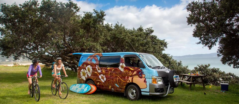 Surf New Zealand. Book a rental campervan for the ultimate road trip.
